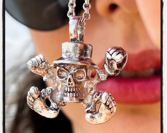 Skull Top Hot Pendant Skull Top Hat Necklace Skull TopHat Necklace Slash Necklace handmade by Etherial using Pure Sterling Silver .925