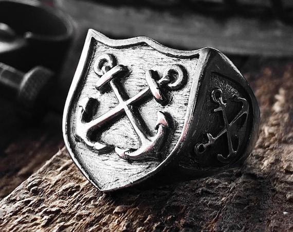 Anchor Ring Anchors Ring Mariner Ring Nautical Ring Navy Ring Marines Ring Ship Ring Summer Ring Silver Anchors Ring Compass Ring North Star