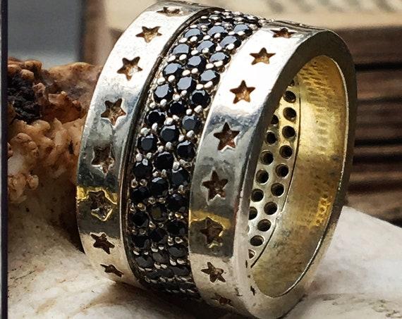 Etherial Jewelry - Rock Chic Talisman Luxury Biker Custom Handmade Artisan Pure Sterling Silver .925 Stars and Black Onyx Band Biker Ring
