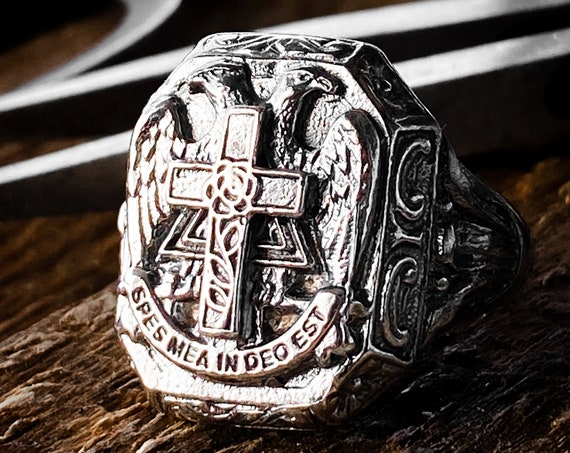 Imperial Double Headed Byzantine Eagle Ring Russian Eagle Tsar Nicholas Ring Russian Ring made by Etherial using Pure Sterling Silver .925