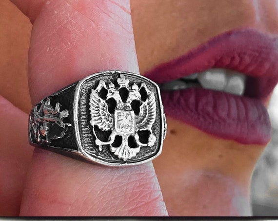 Russian Imperial Eagle Ring Double Headed Eagle Ring Russian Mafia Ring KGB Ring Byzantine Eagle Ring Russian Empire Ring Tsar Nicholas Ring