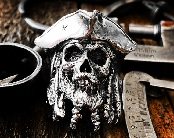 Pirate Skull Ring Skull Pirate Ring Bearded Skull Ring Mustache Skull Ring Moustache Skull Ring Beard Skull Ring Jack Sparrow Pirates Ring