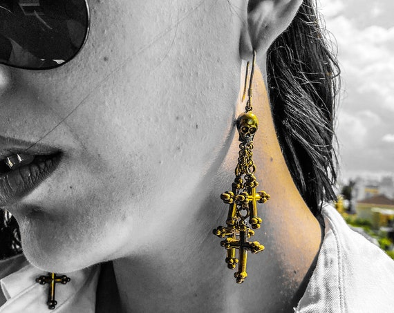 Sterling Silver Skull Chandelier Earrings Sterling Silver Cross Earrings Designer Chandelier Earrings Skull and Cross Dangling Earrings