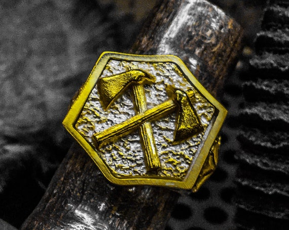 Etherial Jewelry - Rock Chic Talisman Luxury Biker Custom Handmade Artisan Pure Sterling Silver .925 Double Battle Axe Ring