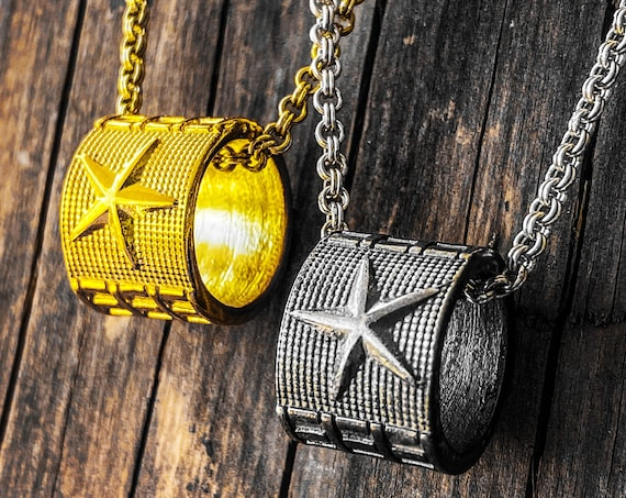 Star Pendant Star Necklace Gold Star Pendant Gold Star Necklace Geometric Necklace Geometric Pendant Cylindrical Necklace Cylinder Pendant