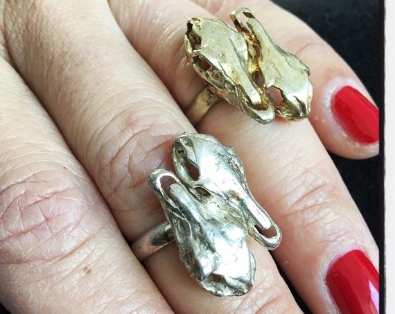 Etherial Jewelry Rock Chic Talisman Luxury Biker Custom Handmade Artisan Pure Sterling Silver .925 Handcrafted Horses Head Equestrian Ring