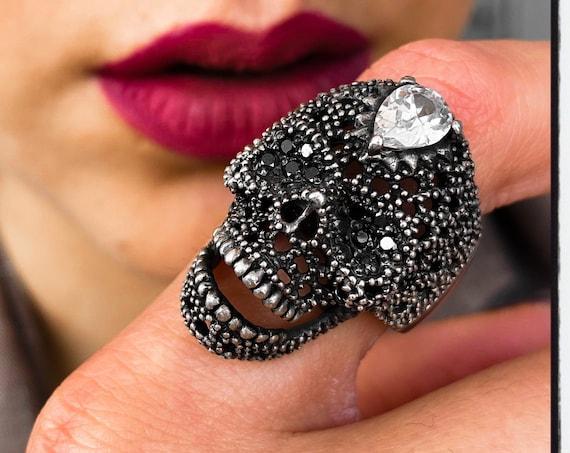 Crystal Skull Ring Dia De Los Muertos Skull Ring Memento Mori Skull Ring Death Skull Ring Dia De Muertos Skull Ring Crystal Skull Ring