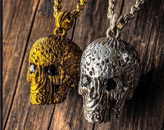 Tribal Skull Necklace Skull Pendant Memento Mori Pendant Memento Mori Necklace Day of the Dead Pendant Dia De Los Muertos Skull Necklace