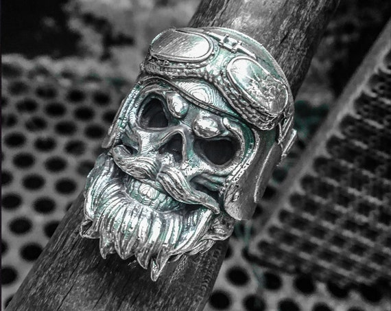 Etherial Jewelry - Rock Chic Talisman Luxury Biker Custom Handmade Artisan Pure Sterling Silver .925 Bearded Helmet Goggles Skull Biker Ring