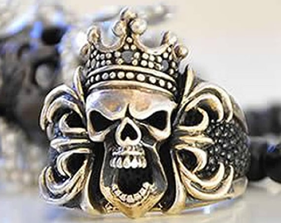 Skull Ring King Skull Ring Queen Skull Ring Crown Skull Ring by Etherial Jewelry made from Pure Sterling Silver 925 Luxury Skull Jewelry