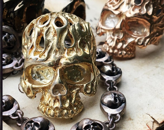 Ghost Skull Ring Flaming Skull Ring Punisher Skull Ring by Etherial Jewelry made from Pure Sterling Silver 925 Luxury Skull Rings Jewelry