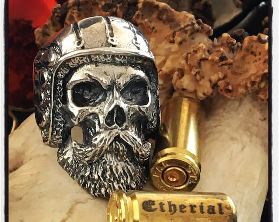 Etherial Jewelry - Rock Chic Talisman Luxury Biker Custom Handmade Artisan Pure Sterling Silver .925 Bespoke Bearded Skull Badass Biker Ring