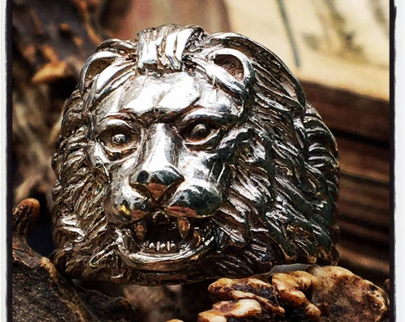Lion Ring Lion Head Ring Leo Zodiac Ring by Etherial Jewelry made from Pure Sterling Silver 925 Luxury Skull Rings Jewelry and Accessories