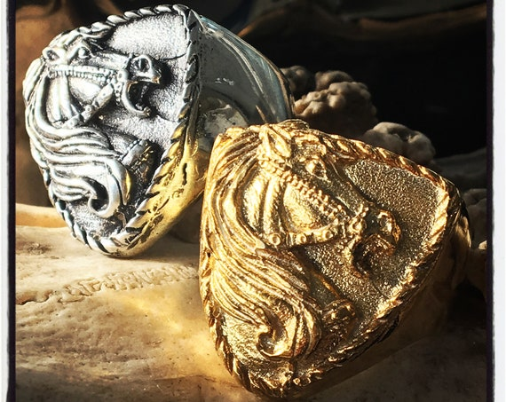 Etherial Jewelry - Rock Chic Talisman Luxury Biker Custom Handmade Pure Sterling Silver .925 Alexander the Great Battle Horse Bucefalas Ring