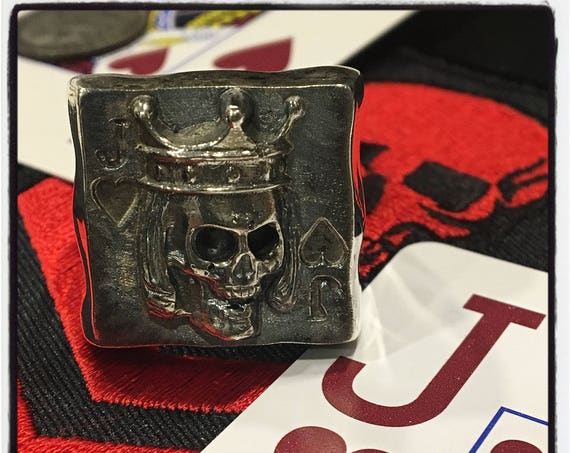 Etherial Jewelry Rock Chic Talisman Luxury Biker Custom Handmade Artisan Pure Sterling Silver .925 Jack of Hearts Gambler Badass Skull Ring