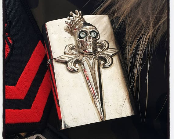 Etherial Jewelry - Rock Chic Talisman Luxury Biker Custom Handmade Artisan Pure Sterling Silver .925 Handcrafted Skull & Crown Lighter Case