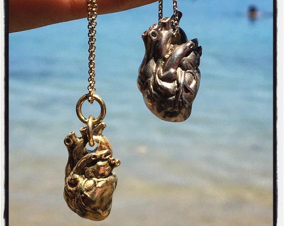 Etherial Jewelry - Rock Chic Talisman Luxury Biker Custom Handmade Artisan Pure Sterling Silver .925 Anatomical Heart Pendant Heart Necklace