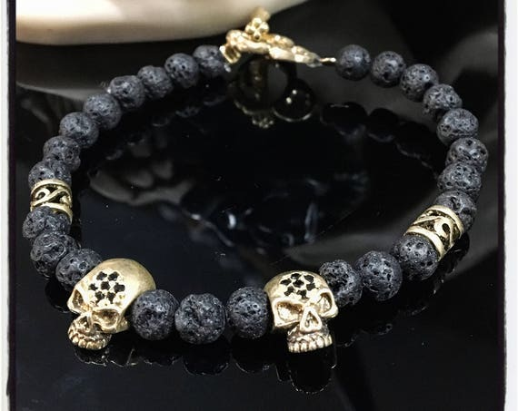 Etherial Jewelry - Rock Chic Talisman Luxury Custom Handmade Artisan Pure Sterling Silver .925 Double Skulls with Black Lava Stones Bracelet