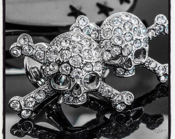 Etherial Jewelry Rock Chic Talisman Luxury Custom Artisan Pure Sterling Silver .925 Skull Cuff Links encrusted with Genuine Garnet Gemstones