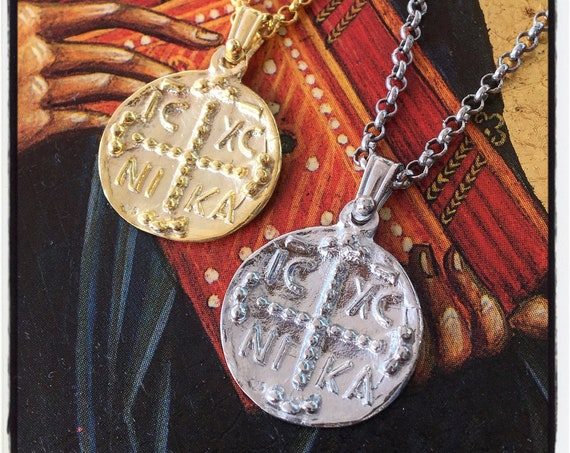 Christogram Pendant Byzantine Pendant Gold Coin Pendant  by Etherial Jewelry made from Pure Sterling Silver 925 Luxury Jewelry Accessories