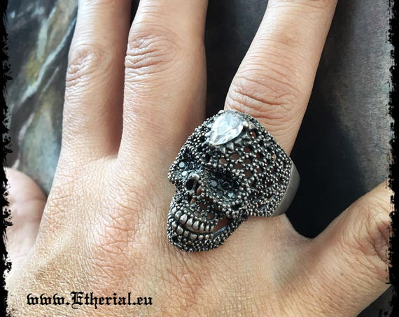 Etherial Jewelry - Rock Chic Talisman Luxury Biker Custom Handmade Artisan Pure Sterling Silver .925 Handcrafted Bespoke Skull Badass Ring