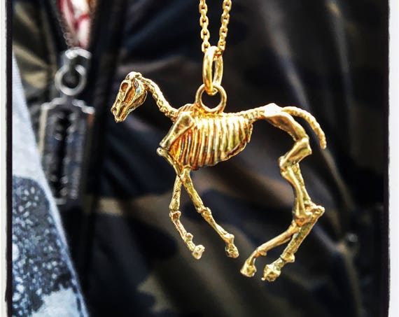 Etherial Jewelry -  Rock Chic Talisman Luxury Biker Custom Handmade Artisan Pure Sterling Silver .925 Horse Skeleton Horse Skull Pendant