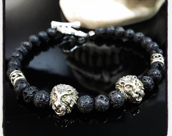 Etherial Jewelry - Rock Chic Talisman Luxury Custom Handmade Artisan Pure Sterling Silver .925 Double Lion with Black Lava Stones Bracelet