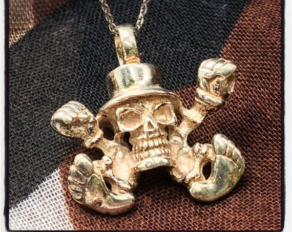 Skull TopHat Pendant Slash Pendant Guns Roses Skull Pendant by Etherial Jewelry made from Pure Sterling Silver 925 Luxury Pendants Jewelry