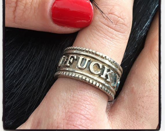 "Etherial Jewelry - Rock Chic Talisman Luxury Biker Custom Handmade Artisan Pure Sterling Silver .925 Badass ""Fuck You"" Band Stack Ring"
