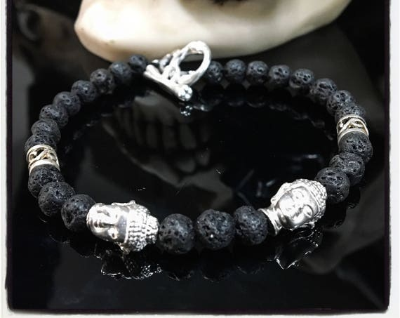 Etherial Jewelry - Rock Chic Talisman Luxury Custom Handmade Artisan Pure Sterling Silver .925 Double Buddha and Black Lava Stones Bracelet
