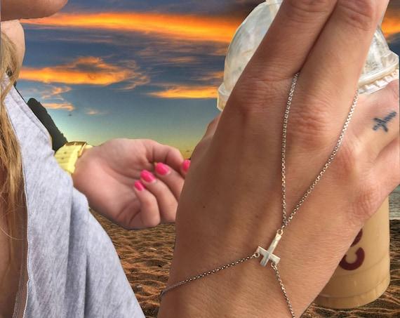Etherial Jewelry Rock Chic Talisman Luxury Custom Handmade Artisan Pure Sterling Silver .925 Handcrafted Designer Cross Hand Finger Harness