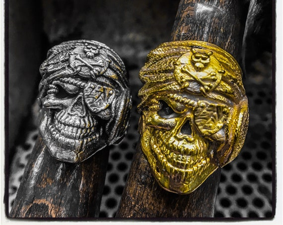 Pirate Skull Ring Pirate Ring Bearded Skull Ring Moustache Skull Ring Mustache Skull Ring Beard Skull Ring Jack Sparrow Ring Antique Ring