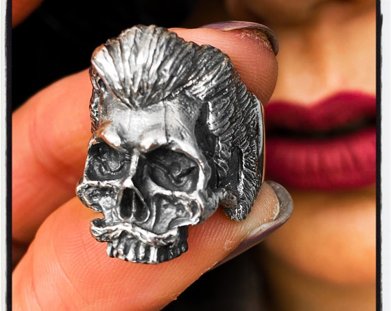 MMA Ring Sterling Silver Skull Mafia Ring Skull Beard Ring Bearded Skull Ring Conor McGregor Ring Mustache Skull Ring Moustache Skull Ring