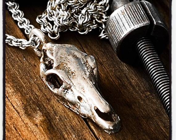 Horse Skull Pendant Horse Skull Necklace Horse Pendant Horse Necklace Pegasus Necklace handmade by Etherial using Pure Sterling Silver .925