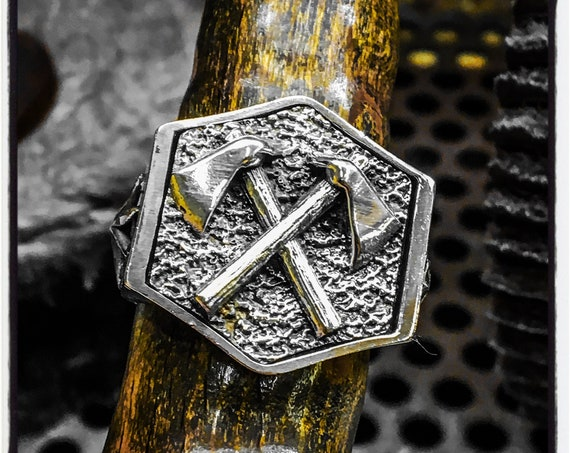 Axe Ring Viking Weapon Ring Axes Ring Viking Warrior Ring Odin Ring Norse Ring Vikings Ring Mafia Ring Gangster Ring Antique Seal Wax Ring