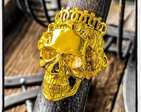 Queen Skull Ring Queen Ring Queen Elizabeth Skull Ring Dia De Muertos Skull Ring Day of the Dead Skull Ring Memento Mori Skull Ring Armorial