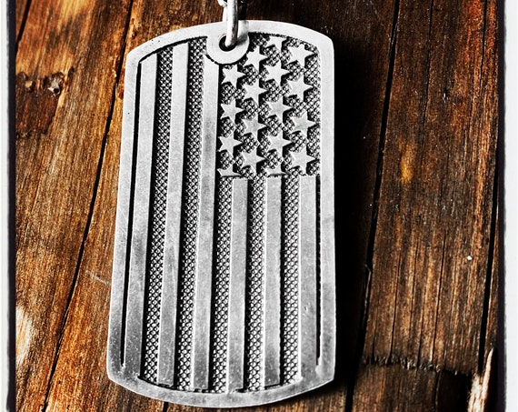 American Flag Dog Tag American Flag Identification American Flag Necklace Pendant Id Tag Identity Necklace American Army Dog Tag Pendant