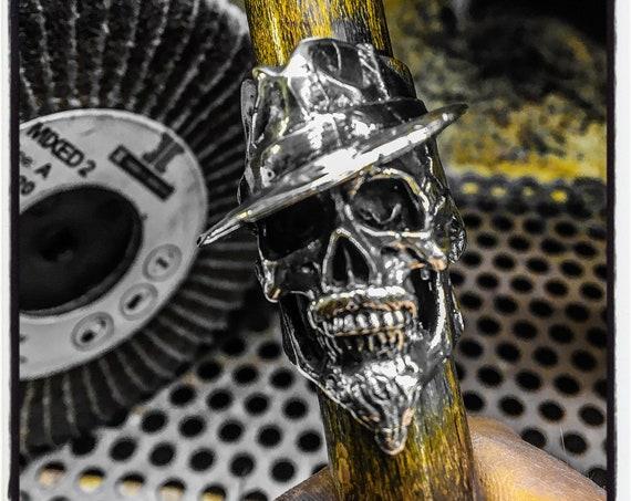Mafia Skull Ring Cosa Nostra Skull Ring John Gotti Ring Bearded Skull Ring Mustache Skull Ring Beard Skull Ring Hat Ring Top Hat Skull Ring
