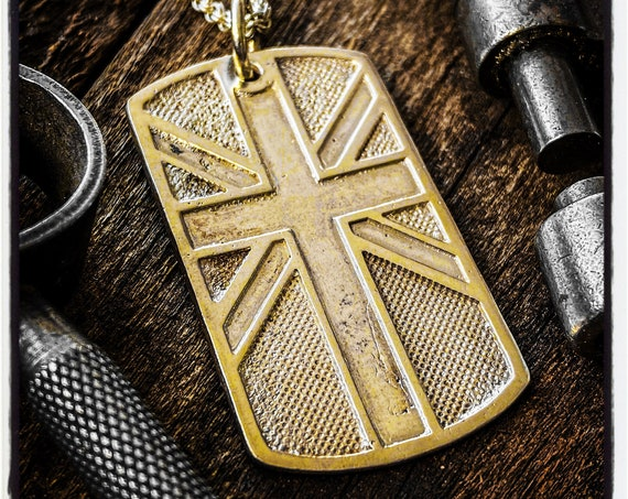 Union Jack Dog Tag British Flag Pendant British Flag Necklace United Kingdom Identity Tag made by Etherial using Pure Sterling Silver .925