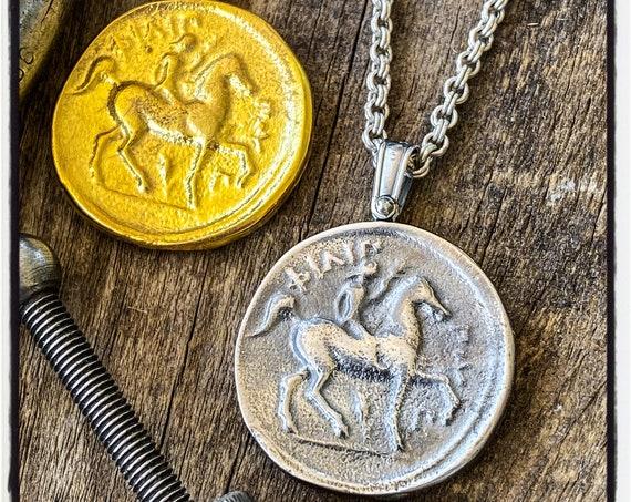 Phillip of Macedonia Tetradrachm Coin Pendant Ancient Greek Coin Necklace Ancient Greek Coin Pendant Horse Pendant Horse Necklace Equestrian