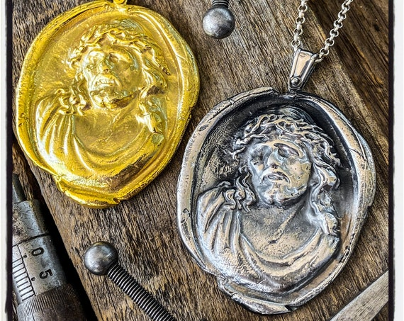 Jesus Wax Stamp Pendant Jesus Wax Seal Necklace Jesus Seal Pendant Jesus Wax Seal Wax Seal Stamp Jesus Christ Necklace Jesus Christ Pendant