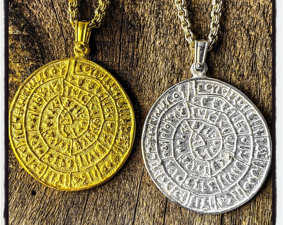 Phaistos Disc Pendant Paistos Disc Necklace Minoan Jewelry Ancient Greek Coin Necklace Ancient Greek Coin Pendant Ancient Greek Jewelry