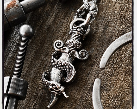 Snake Pendant Snake Necklace Sword Pendant Sword Necklace Serpent Necklace Pendant handmade by Etherial using Pure Sterling Silver .925