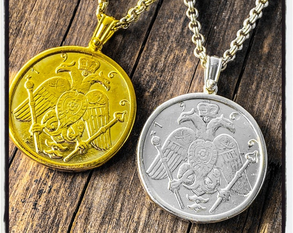 Cypriot Gold Sovereign Archbishop Makarios III 1966 Coin Gold Sovereign Coin Pendant Silver Sovereign Coin Necklace Cyprus Coin Necklace