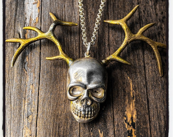 Skull Antlers Pendant Skull Antlers Necklace Deer Antlers Pendant Deer Antlers Necklace handmade by Etherial using Pure Sterling Silver .925