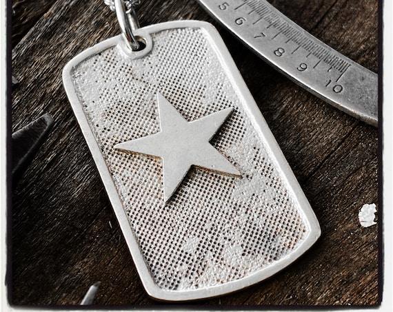 Star Dog Tag Identity Pendant Identity Necklace Id Pendant Id Necklace Identification Tag Identification Necklace Star Pendant Star Dog Tag
