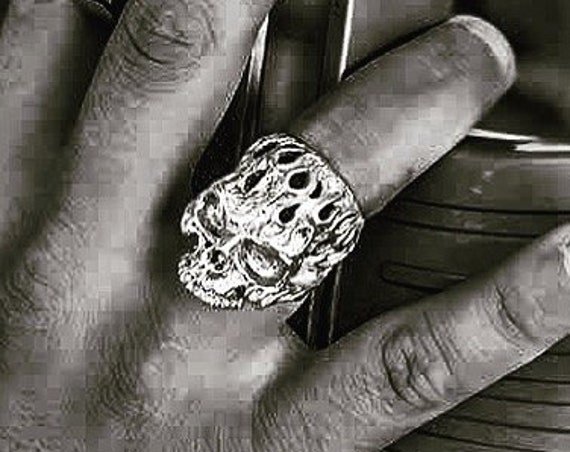 Etherial Jewelry - Rock Chic Talisman Luxury Biker Custom Handmade Artisan Pure Sterling Silver .925 Handcrafted Badass Skull Designer Ring