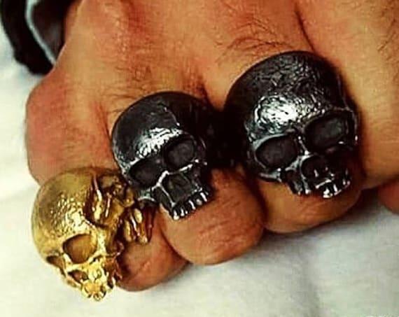 Skull Rings Skull Ring Dia De Los Muertos Skull Ring Memento Mori Skull Ring Dia De Muertos Skull Ring Half Skull Ring Punisher Ring