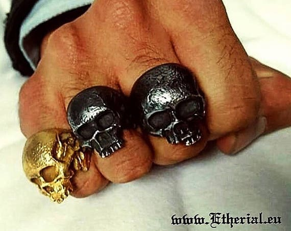 Etherial Jewelry - Rock Chic Talisman Luxury Biker Custom Handmade Artisan Pure Sterling Silver .925 Handcrafted Badass Designer Skull Ring