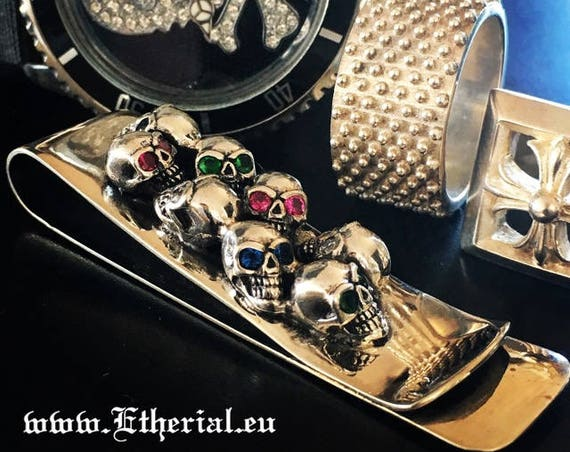 Etherial Jewelry Rock Chic Talisman Luxury Biker Custom Handmade Artisan Pure Sterling Silver .925 Skull Money Clip encrusted with Gemstones